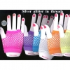 FINGERLESS FISHNET GLOVES WITH SILVER THREADS 3 COLORS ONLY