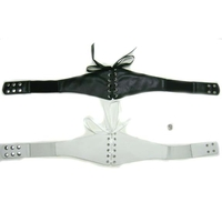 WHTE ONLY IN STOCK ILEATHER AND SATIN STRETCH BELT WITH SNAPS