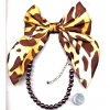"LEOPARD 16"" PEARL CHOKER brown  FABRIC BOW TIE,"