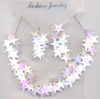 STARS NECKLACE AND EARRING SET IN IRRIDESCENT COLORS