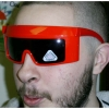 ROBOT FUNKY ONE PIECE LENS COOL COLORS SUNGLASSES BLACK & ORANGE