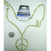 LEAD FREE PEACE SIGN GOLD NECKLACE . # 1 SELLER