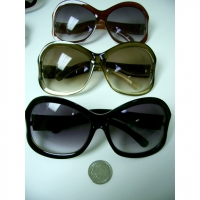 LADIES RETRO LARGE  FRAME SUNGLASSES INDENTED