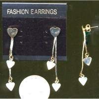 3 HEARTS ON A GOLD CHAIN EARRING