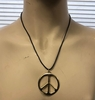 LEAD FREE PEACE NECKLACE GOLD PENDEDNT ON LEATHER CORD