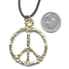 LEAD FREE PEACE SIGN ENGRAVED GOLD COLOR ON A CORD NECKLACE