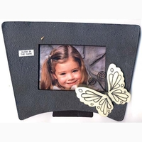 BUTTERFLY ON BLACK FRAME