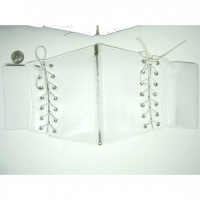 CORSET STYLE WHITE STRETCH 2 LACE UPS & ZIPPER CENTER