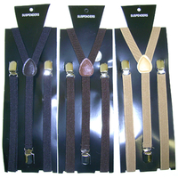 3 SHADES OF BROWN THIN 1/2 WIDE SUSPENDERS