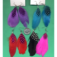 FEATHER EARRINGS IN 6 COLORS WITH A SMALLER POKADOT FEATHER