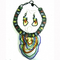 SEED BEAD CHOKER AND EARRING SET
