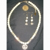 PEACE SIGN, PEARL AND CRYSTAL NECKLACE