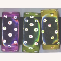 ASSORTED TRANSPARENT COLOR BANGLE CUFF WITH SPOTS