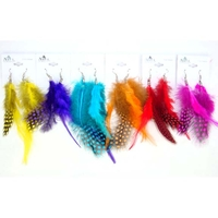 FEATHER EARRINGS IN 6 BRIGHT & ANIMAL PRINTS TOGETHER