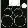 LONG 3 SILVER ROUND HOOP EARRINGS