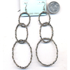 LONG 3 SILVER OVAL SHAPE HOOPS DIAMOND CUT LOOK