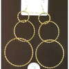 LONG 3 ROUND GOLD COLOR HOOP EARRINGS