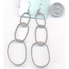 LONG 3 SILVER OVAL HOOPS TWISTED LOOK EARRINGS
