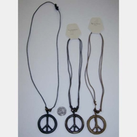 PEACE SIGN NECKLACE, COMES IN BONE LOOK COLORS, AND A BLACK