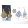 MESH EARRINGS WITH 5 CRYSTAL DROPS