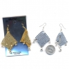 MESH EARRING WITH 3 GEM DROPS