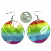 RAINBOW STRIPE  COLORS EARRING ON A ROUND SEA SHELL