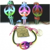 PEACE SIGN MULTICOLOR ON  LEATHER WITH COLORFUL CORD