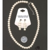 PEARL CHOKER & EARRING SET, ADJUSTABLE 18-20 INCH