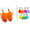 FEATHER EARRING IN COLORS WITH SMALL BEADS