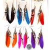FEATHER EARRING, 6 COLORS WITH SUEDE CORD WITH BLACK AND WHITE B