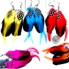 FEATHER IN COLORS WITH BLACK FEATHER EARRINGS