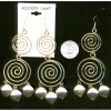 EGYPTIAN LOOKING  GOLD WIRE SWIRL EARRINGS