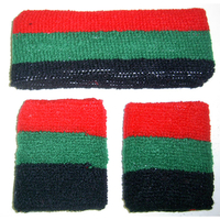 80'S TERRY CLOTH SWEATBANDS BLACK, RED, GREEN COMBO. BLACK POWER