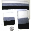 80&#39S TERRY CLOTH SWEAT BAND SET IN BLACK WHITE, GARY STRIPE