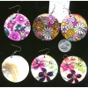 FLOWER PRINT WITH GEMS EARRINGS MADE OF SHELL