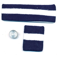 80'S TERRY CLOTH HEADBAND AND 1 WRISTBAND IN NAVY/WHITE
