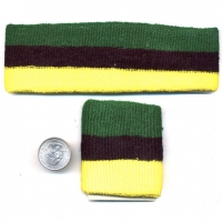 80'S TERRY CLOTH HEADBAND & WRISTBAND SET GREEN/BLACK/YELLOW