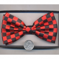 BOW TIE CHECKER BOARD PRINT RED & BLACK