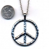 PEACE SIGN NECKLACE ON A 26 INCH CHAIN. SILVER ONLY