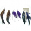 FEATHER EARRING WITH WOOD BEADS &  METAL CHAIN