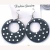 CLASSIC SHAPE BLACK EARINGS WITH WHITE POKADOTS