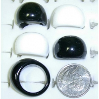 BLACK & WHITE RING, ASSORTED SIZES