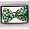 BOW TIE CHECKER BOARD PRINT GREEN/BLACK