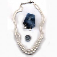 2 LINE PEARL CHOKER WITH EARRING SET