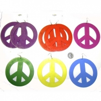 PEACE SIGN HUGE EARRINGS IN ASSORTED COLORS