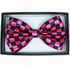 BOW TIE, CHECKERBOARD, BLACK AND PINK COLOR