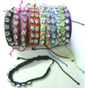 ASSORTED COLOR PULLSTRING BRAIDED BRACELETS WITH 8 GEMS