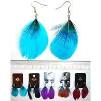 FEATHER EARRING IN ASSORTED COLORS W/ A SMALL GREEN/BLUE FEATHER