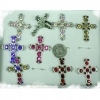 CROSS RING  WITH GEMS ASSORTED COLORS IN A SILVER BASE