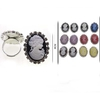 CAMEO RING, ASSORTED COLORS, RHINESTONE BORDER